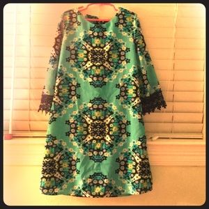 Girl's Sequin Heart floral print dress. Size 12